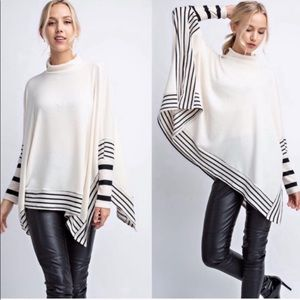Striped Contrast Poncho